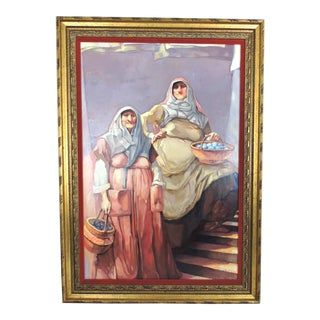 The Market Sellers, Framed Oil Painting on Canvas For Sale