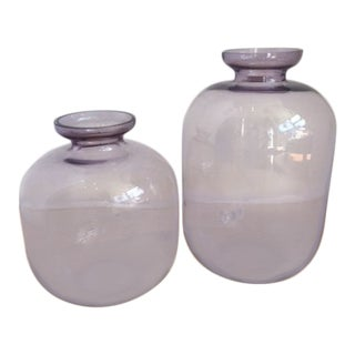 Vintage Amethyst Glass Vases - a Pair For Sale