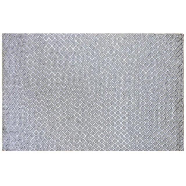 Silver and Grey Wool and Silk Trellis Rug - 6' X 9' - Image 1 of 2