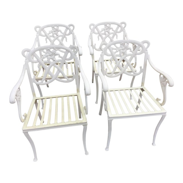 Brown Jordan White Day Lily Arm Chairs - Set of 4 - Image 1 of 5
