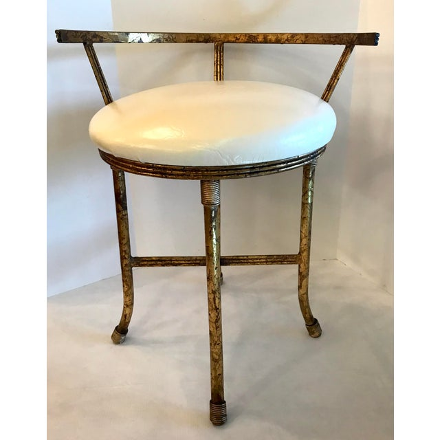 Magnificent 1920S Vintage Hollywood Regency Gold Vanity Stool Gamerscity Chair Design For Home Gamerscityorg