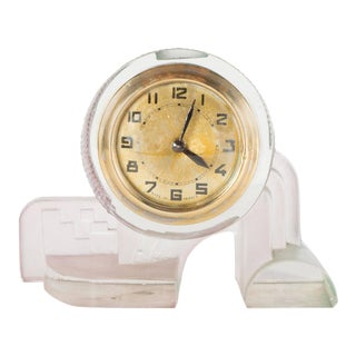 French Art Deco Cubist Style Table or Desk Clock in Pale Celadon and Rose Glass For Sale