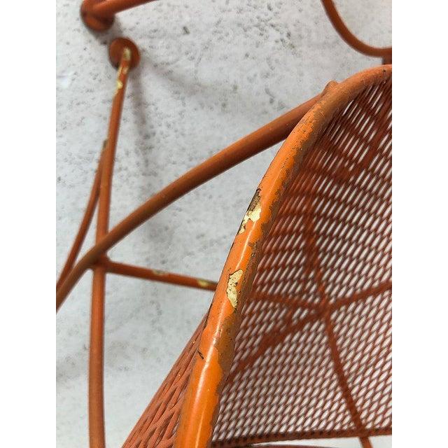 "Orange Set of Three Mid-Century Salterini ""Orange Slice"" Chairs & Table Orange Metal Patio Set For Sale - Image 8 of 9"