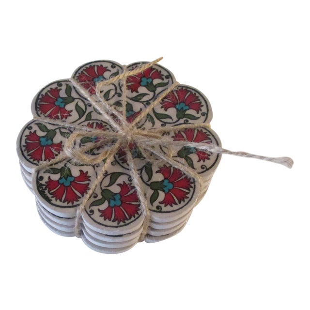 Vintage Set of Four (4) Red and Green Carnations Turkish Ceramic Coasters For Sale