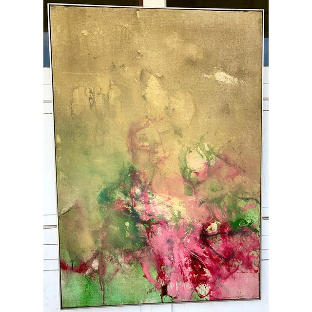 1960s Vintage Green and Pink Abstract Painting For Sale In Los Angeles - Image 6 of 6