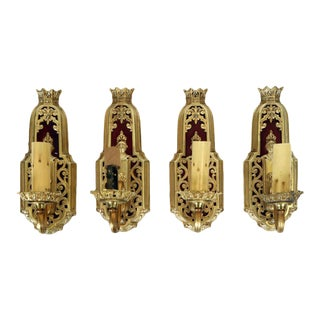 1950s Vintage Gothic Revival Brass Wall Sconces-Set of 4 For Sale