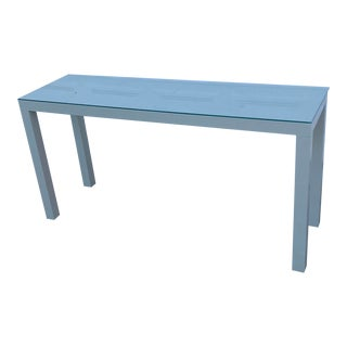 Vintage Painted Gray Parsons Console Table W/ Glass Top For Sale
