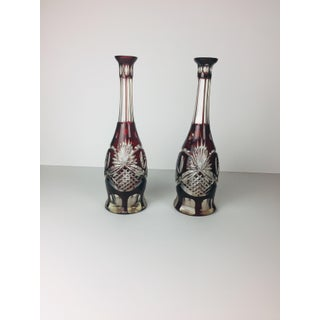 Early 20th Century Cranberry Red Bohemian Crystal Cut Glass Decanters - a Pair Preview