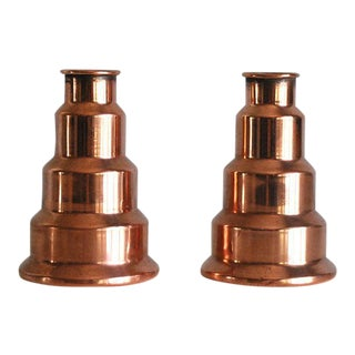 Machine Age Revere Copper Candle Holders - a Pair