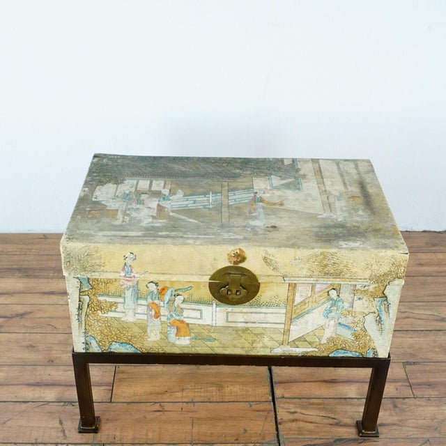 Asian Antique Chinese Leather Trunk For Sale - Image 3 of 12