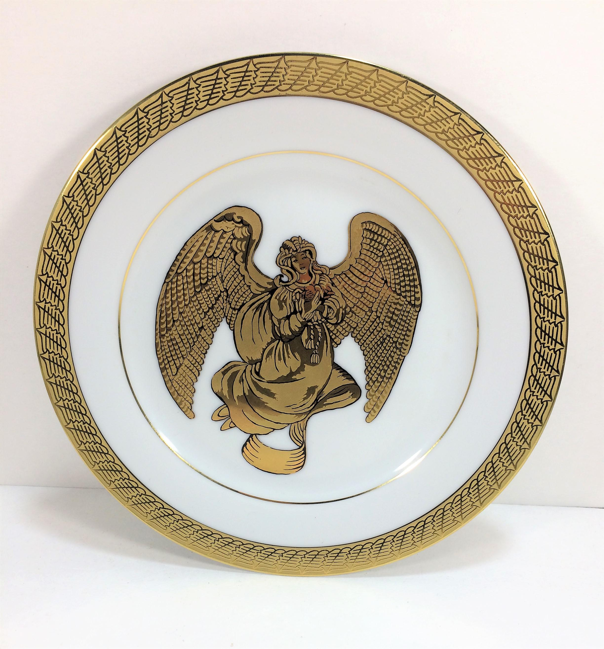 Vintage Renaissance Angels White u0026 Gold Porcelain Dinnerware or Decorative Plates - Set of 4 - & Vintage Renaissance Angels White u0026 Gold Porcelain Dinnerware or ...