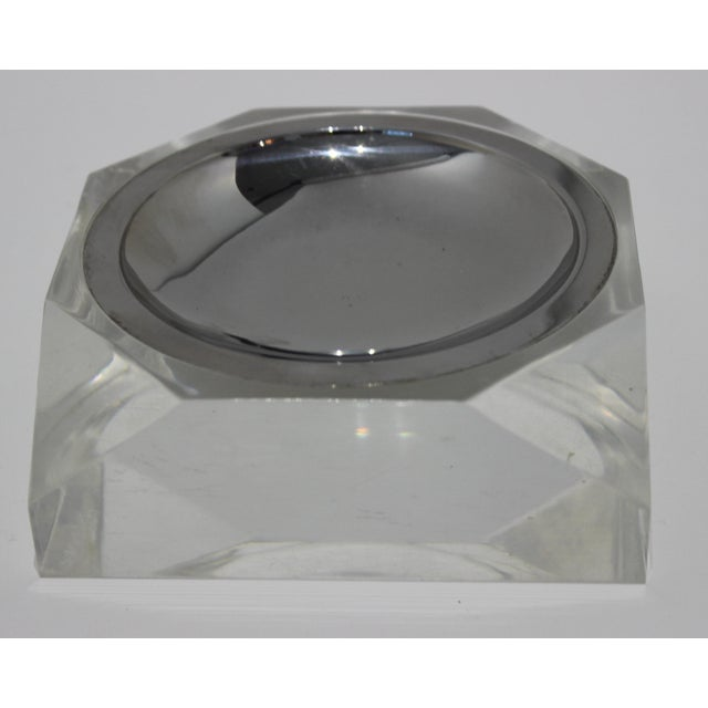 Modern Octagonal Lucite & Stainless Steel Candy or Nut Dish Bowl For Sale - Image 3 of 10