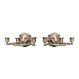 Vintage English Regency Style Gilt Lion Head Three-Arm Wall Sconces - a Pair For Sale