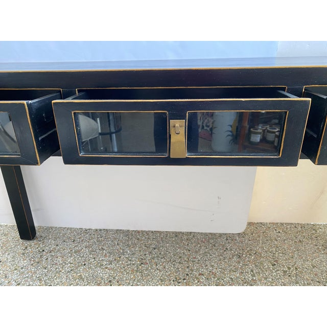 Modern Ebonized Three-Drawer Console Table For Sale - Image 3 of 13