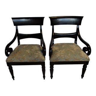 Regency Style Black Armchair With Detachable Upholstered Seat - a Pair For Sale