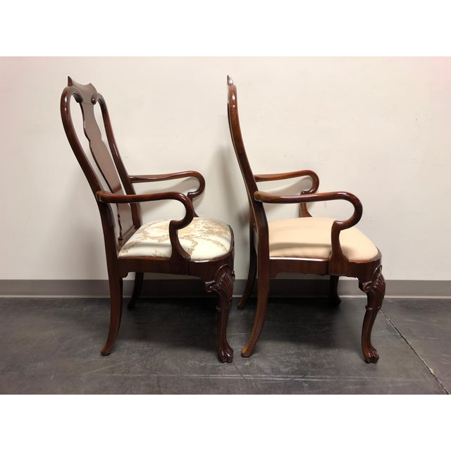 Queen Anne Solid Mahogany Queen Anne Dining Captain's Arm Chairs - Pair For Sale - Image 3 of 11