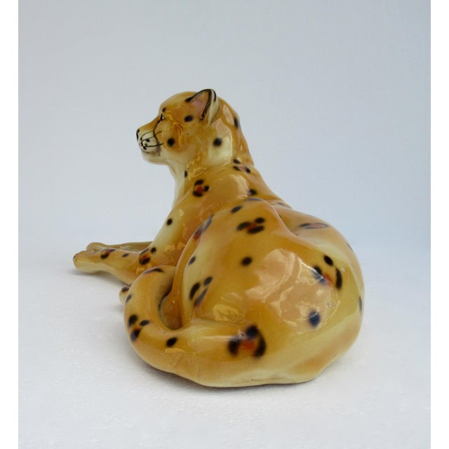Ceramic Hollywood Regency Italian Porcelain Ceramic Hand-Painted Leopard in Repose For Sale - Image 7 of 13