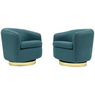 1980s Vintage Thayer Coggin Swivel Tilt Barrel Lounge Chairs by Milo Baughman- A Pair For Sale