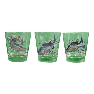 1950s Vintage Schaldach/ Carwin Game Fish Old-Fashioned Glasses - Set of 3 For Sale