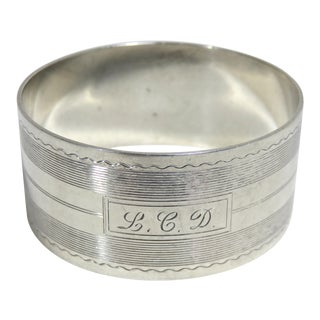 Vintage Art Deco Sterling Silver Napkin Ring For Sale