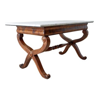 19th Century Italian Neoclassical Curule Leg Marble Library Table For Sale
