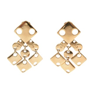 Paco Rabanne Sculptural Cut Out Geometric Earrings - a Pair For Sale