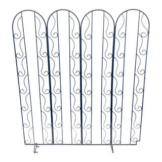 Art Deco Style Black Iron Room Divider For Sale