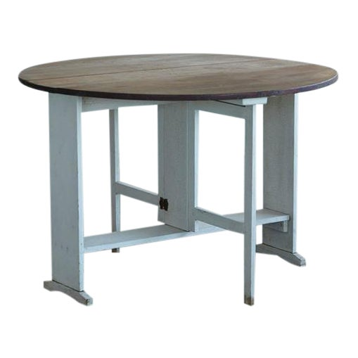 Painted Gate Leg and Drop Leaf Pine Farm Table For Sale