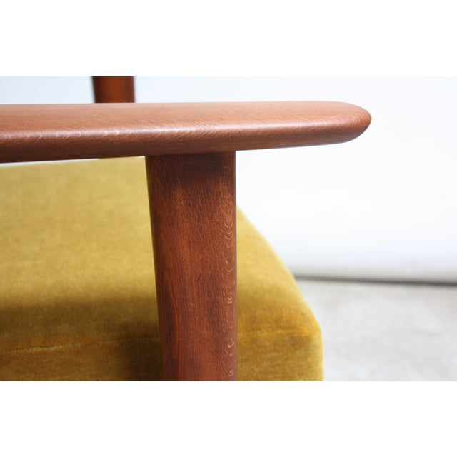 Danish Modern Reclining Lounge Chair in Ochre Mohair For Sale - Image 11 of 13