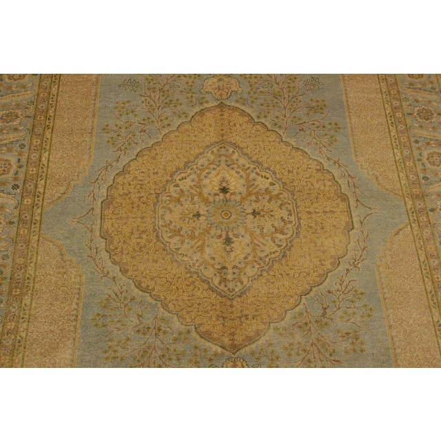 Semi Antique Istanbul George Lt. Blue/Gold Turkish Hand-Knotted Rug -5'8 X 7'4 For Sale In New York - Image 6 of 8