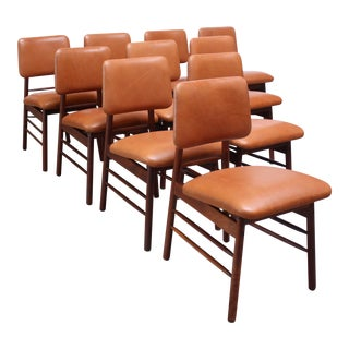 Set of Ten Walnut and Leather Dining Chairs by Greta Grossman For Sale