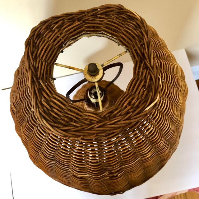 Vintage Wicker Table Lamp For Sale - Image 4 of 8
