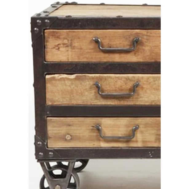 Reclaimed wood iron side cabinet with drawers chairish for Buy reclaimed wood los angeles