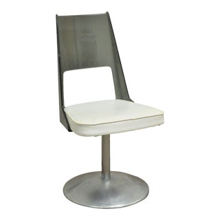 Vintage Mid Century Modern Smoked Lucite Aluminum Swivel Base Side Desk Chair