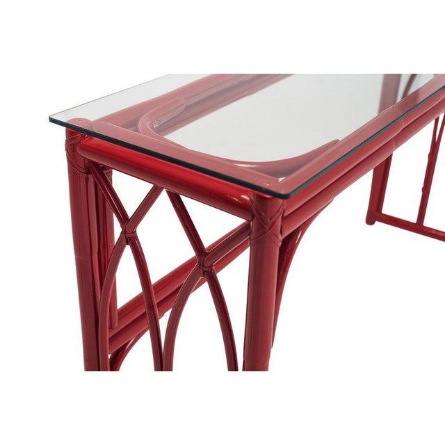 Vanity Table With Large Mirror in Red Lacquered Bamboo For Sale - Image 12 of 13