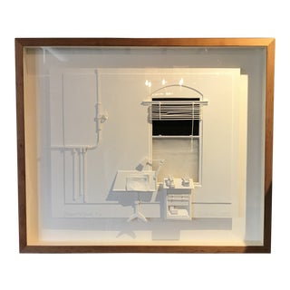 Guenther Reiss Architectural 3d Paper Construction Framed Art Signed For Sale