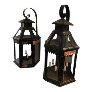 Antique Copper Painted Lanterns - A Pair For Sale