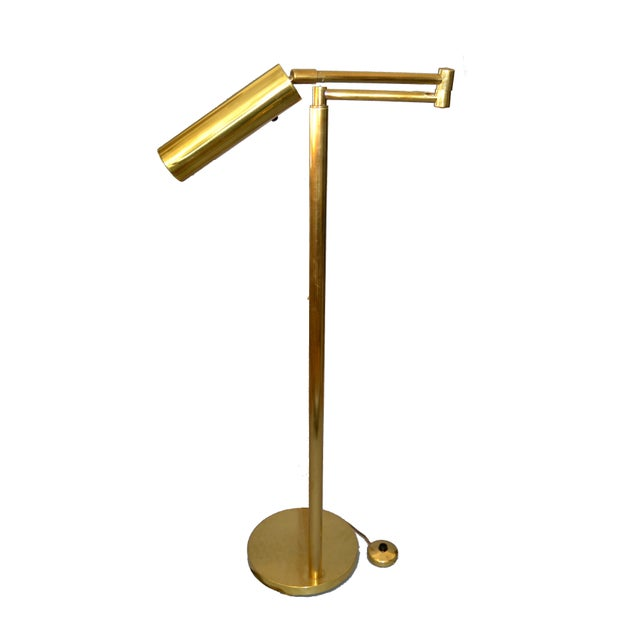 Italian Brass Swing Arm Floor or Reading Lamp For Sale - Image 11 of 13