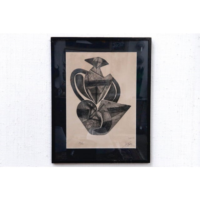 Signed French Abstract Graphite on Paper For Sale - Image 10 of 10