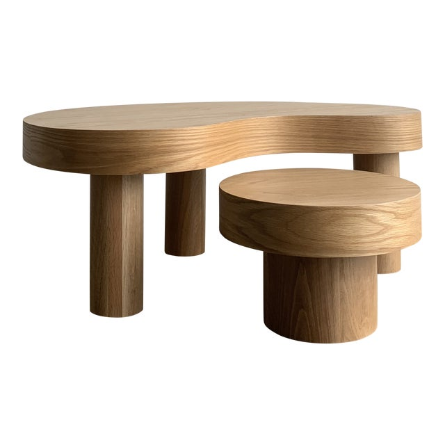 1980s Style Kidney Two Tiered Coffee Table - a Pair For Sale
