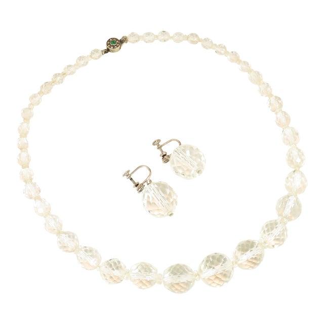 Edwardian Cut Lead Crystal Bead Choker Necklace & Sterling Earrings,1905 For Sale