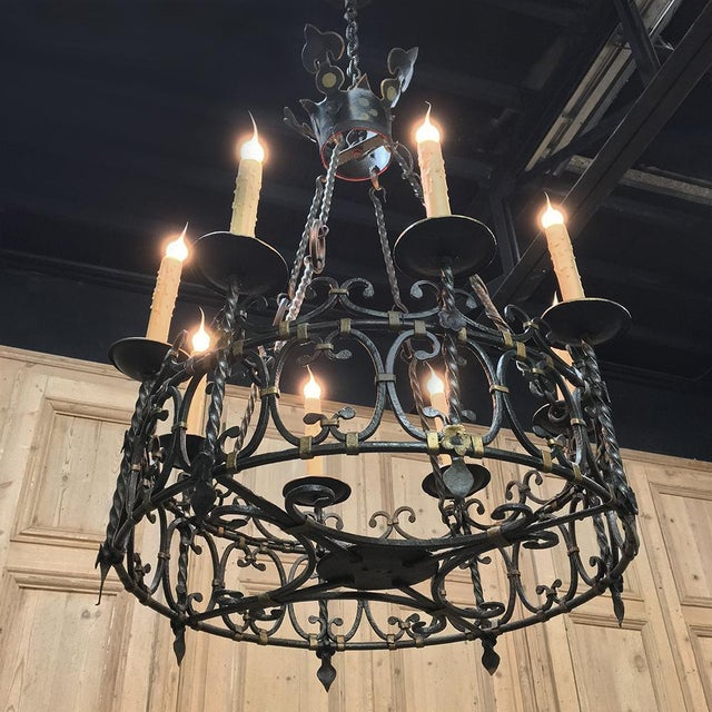 Antique Country French Wrought Iron Chandelier For Sale - Image 9 of 11