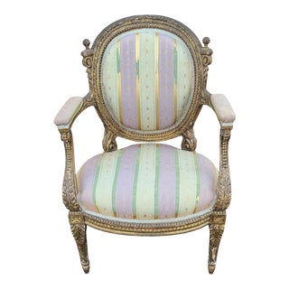 Fine Early 19th Century French Louis XVI Style Gilded Parlor Armchair For Sale