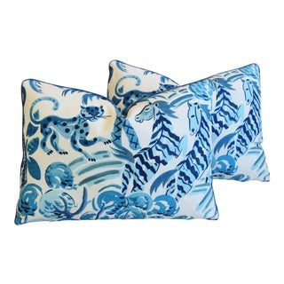 "P. Kaufmann Blue & White Wilderness Animal Feather/Down Pillows 23"" X 17"" - Pair For Sale"