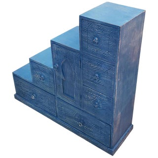 Moroccan Wooden Cedar Wood Stair Cabinet For Sale