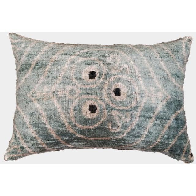Contemporary Silk Uzbek Ikat Velvet Hand Made Pillow Cushion,16x24 For Sale - Image 3 of 3