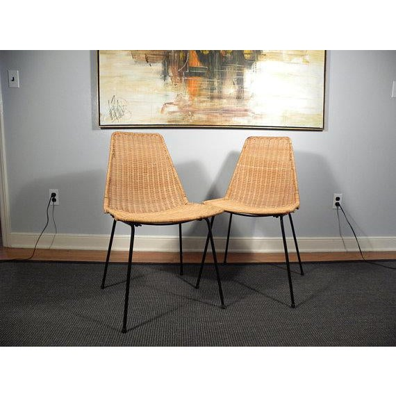 Vintage Mid-Century Modern Wicker Chair With Iron Legs - Pair - Image 7 of 8
