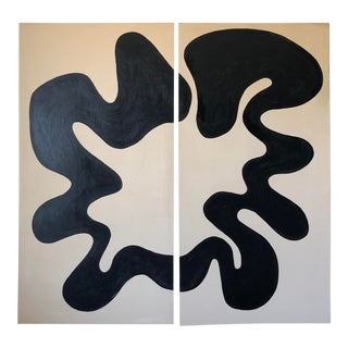 Loop Abstract Acrylic Oversized Diptych Painting For Sale