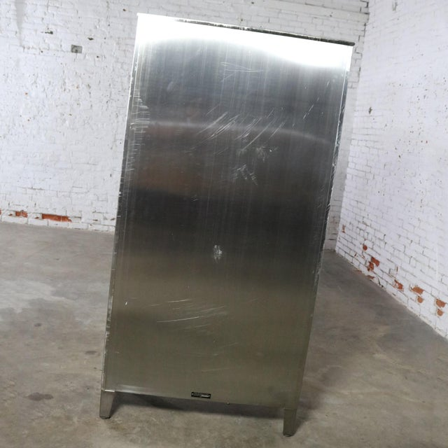 Vintage Stainless Steel Industrial Display Apothecary Medical Cabinet With Glass Doors and Shelves For Sale - Image 9 of 13
