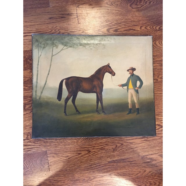 Late 19th Century Antique Equestrian - Horse and Groom Painting For Sale - Image 4 of 5